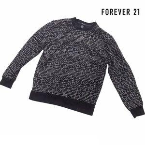 F21 Mens Black & White Geometric Sweatshirt XS